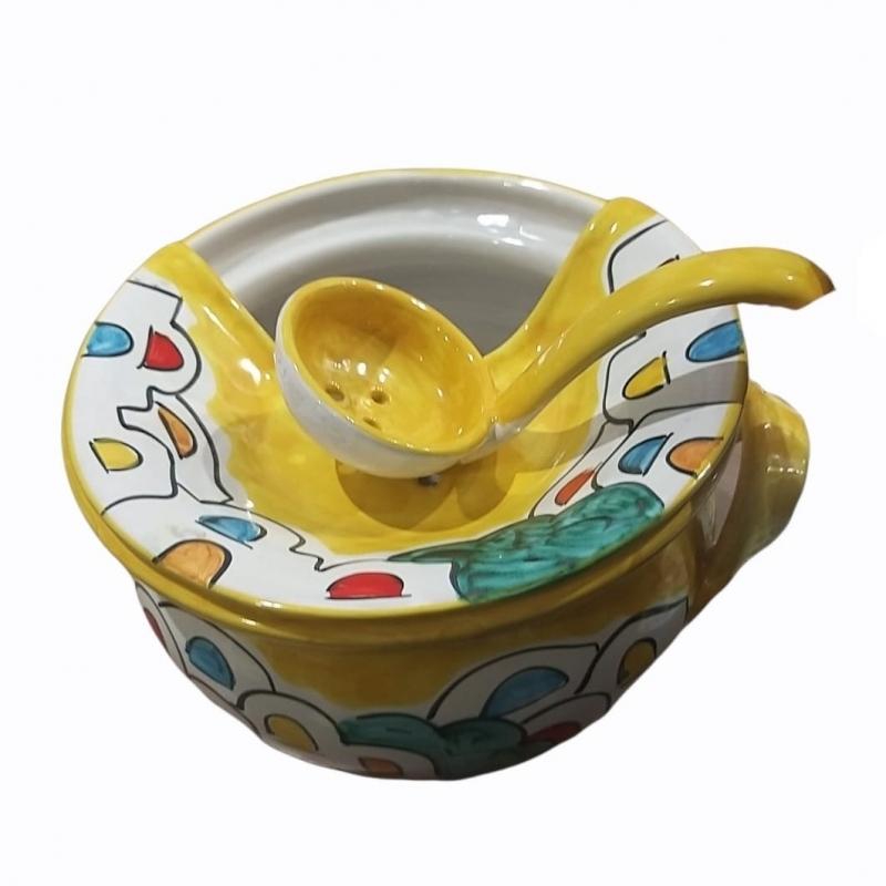 Mozzarelliera in Ceramica di vietri con mestolo.