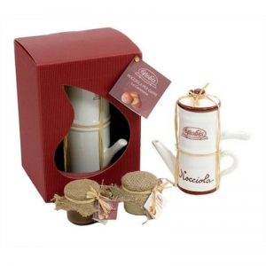 Neapolitan coffee maker with 2 ceramic vases hazelnut cream