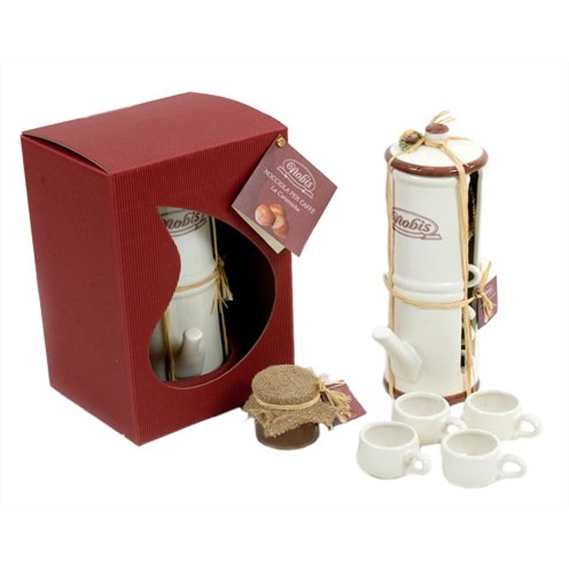 Neapolitan coffee maker with 4 ceramic coffee cups