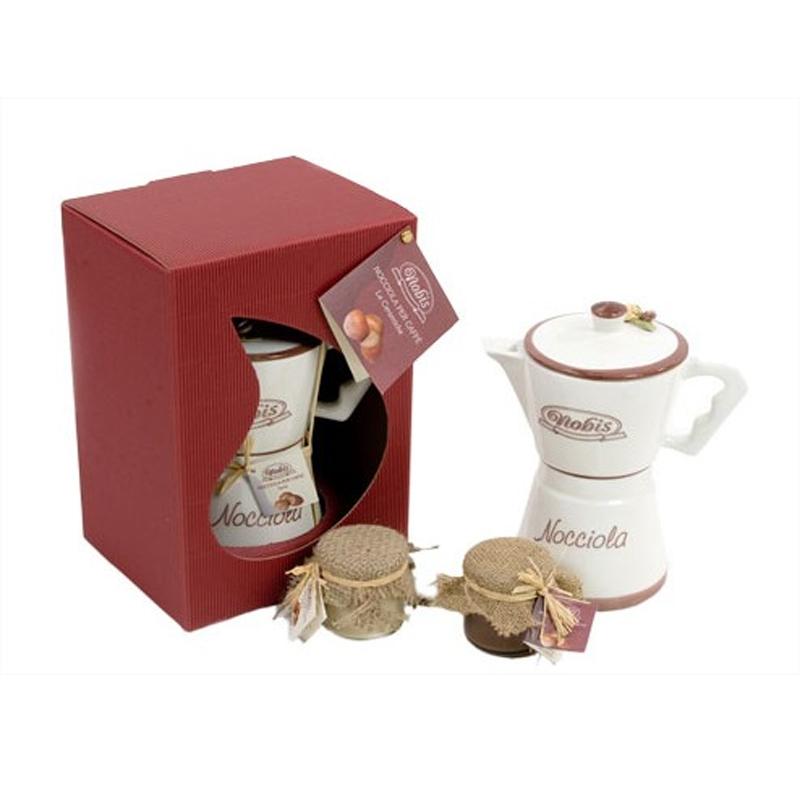 Moka ceramic with 2 pots of hazelnut cream