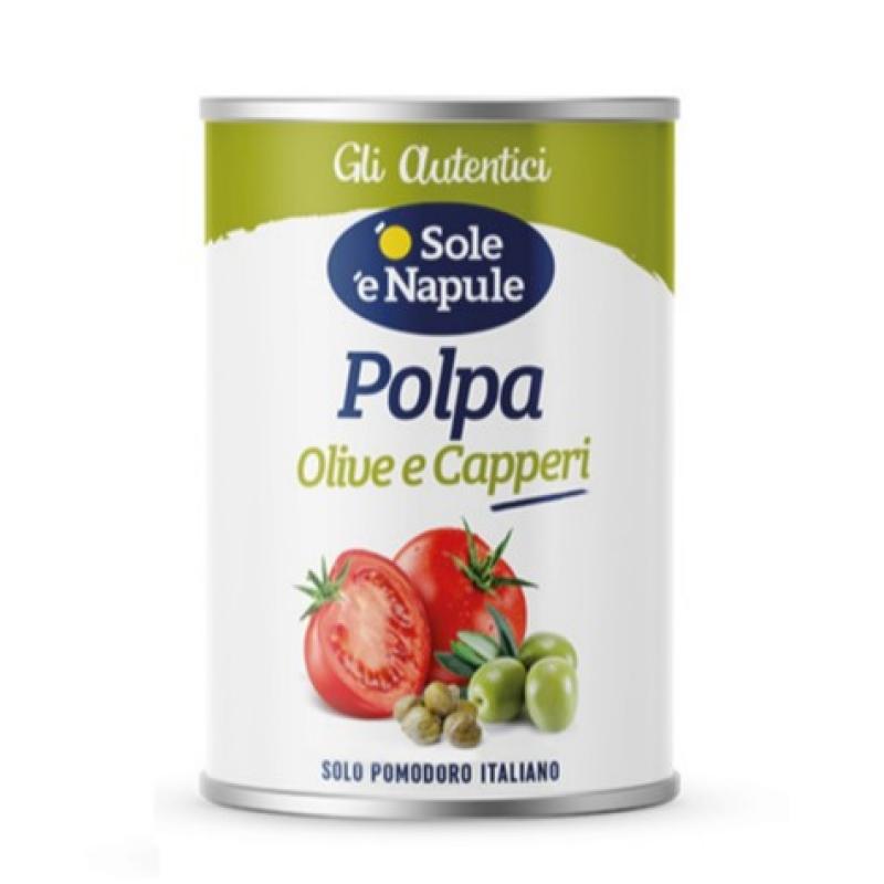 """Pezzettoni di pomodoro con olive alla Puttanesca 400gr - """"O Sol e Napule"""""""