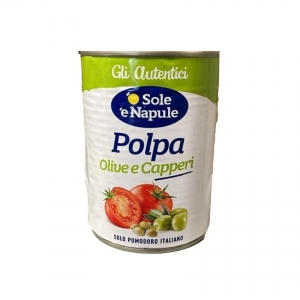 """Morceaux de tomate aux olives alla Puttanesca 400gr - """"O Sol e Napule"""""""