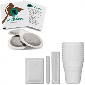 100 Waffles Partenope Espresso + Kit Cups, pans, sugar