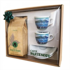 Ground Partenope Coffee + 2 Cups Gift Pack