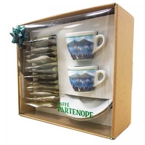 Coffret Cadeau Café Partenope Pods + 2 Tasses