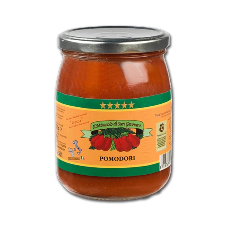 Ganze Tomaten aus dem Lattari-Gebirge Wunder von San Gennaro 800 Gr. Glas
