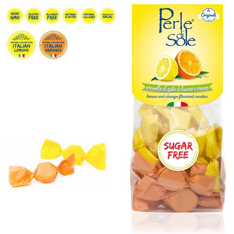 Caramelle al gusto di Limone e Arancia Senza Zucchero - Perle di Sole