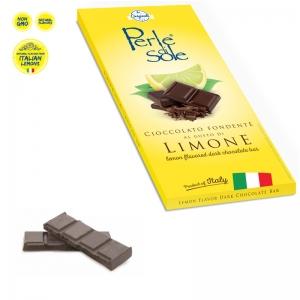 Dunkler Schokoladenriegel mit Zitrone