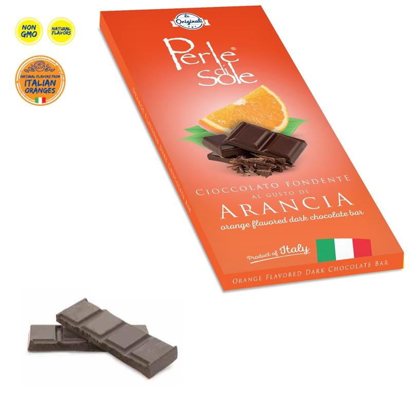 Orange Flavored Dark Chocolate Bar - Perle di Sole