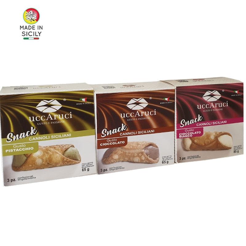 Paquete de tres de Mini Cannoli Snack - Uccaruci