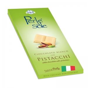 Cioccolato Bianco con Granella di Pistacchio - Perle di Sole