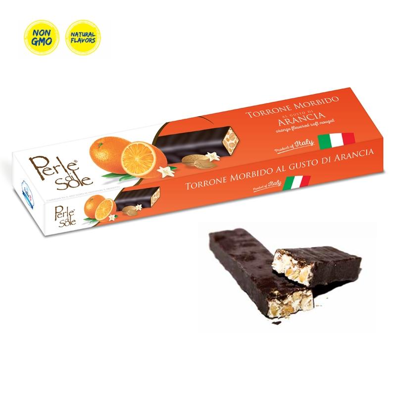 Turrón blando con sabor a naranja - chocolate negro - Perle di Sole