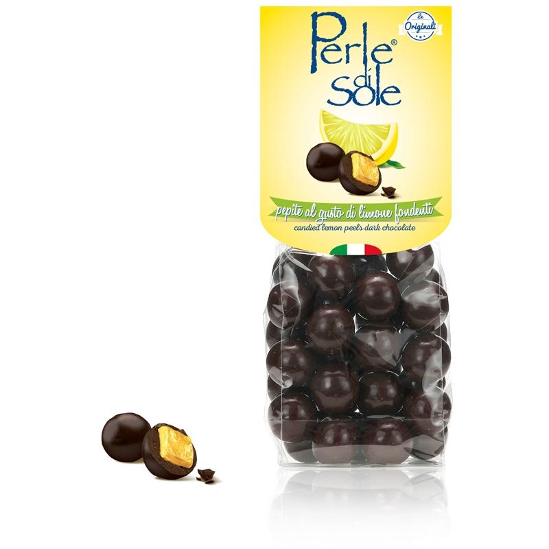 Kandierte Zitronenschalen dunkle Schokolade - Perle di Sole