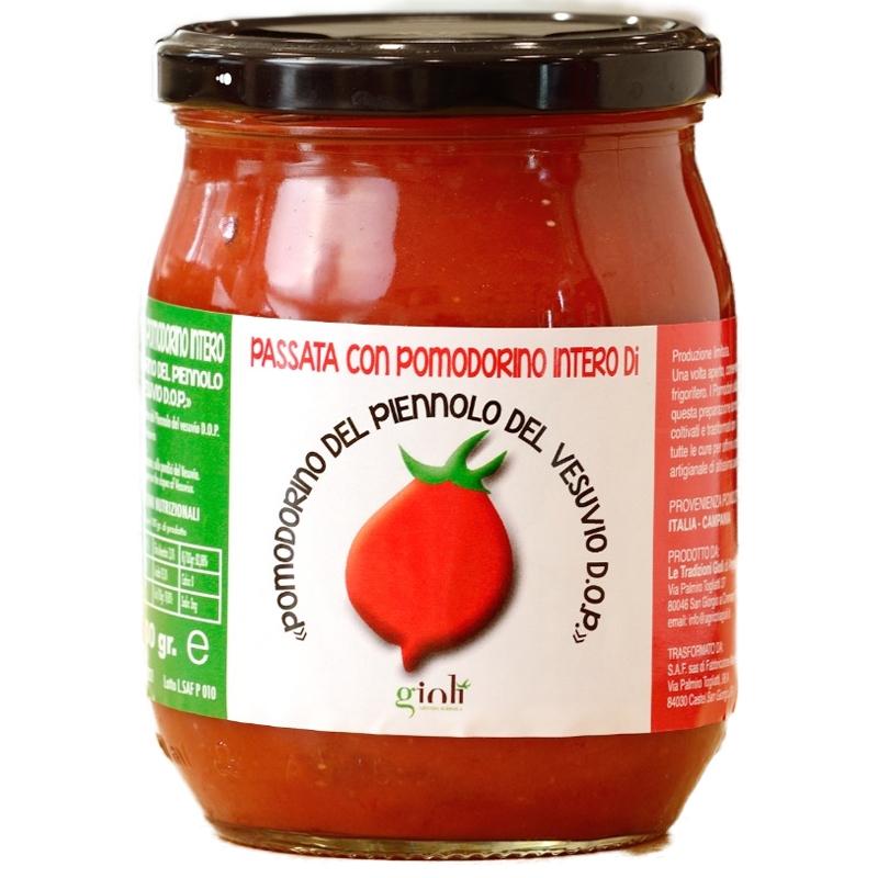 Puré de tomate con tomate entero Pomodorino Piennolo Vesubio D.o.p. 500 Gr.