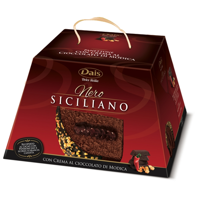 Panettone siciliano negro con chocolate Modica