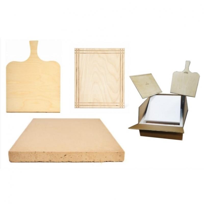 Kit piedra refractaria con pala de madera y tabla de cortar de madera