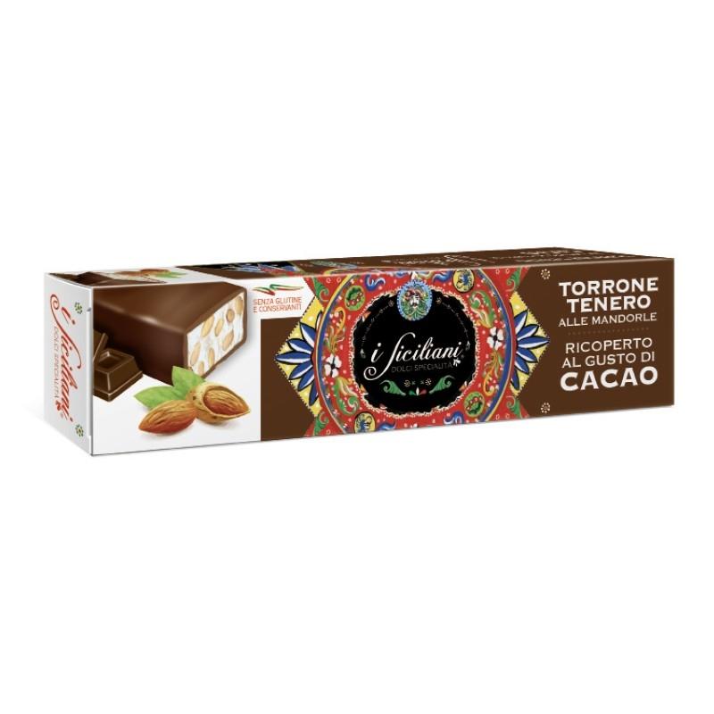 Nougat tendre aux amandes Recouvert de cacao 150 Gr.