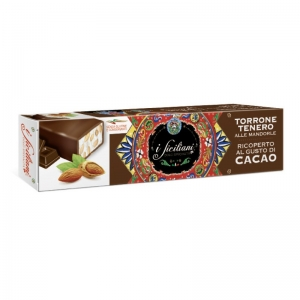 Soft nougat with almonds Covered with cocoa 150 Gr.