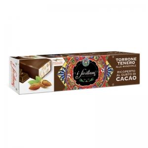 Torrone tenero alla mandorla Ricoperto al cacao 150 Gr.