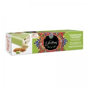 Nougat tendre aux amandes Recouvert de pistache 100 Gr.