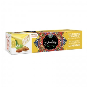 Soft nougat with almonds Covered with lemon 150 Gr.