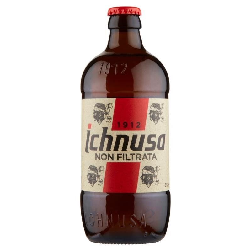 Cerveza Ichnusa sin filtrar 5% en vaso 50cl