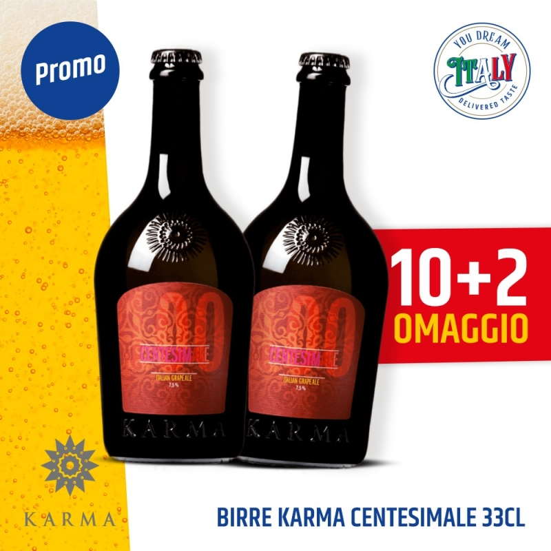 10 cervezas Karma Centesimale 33 cl + 2 cervezas gratis.