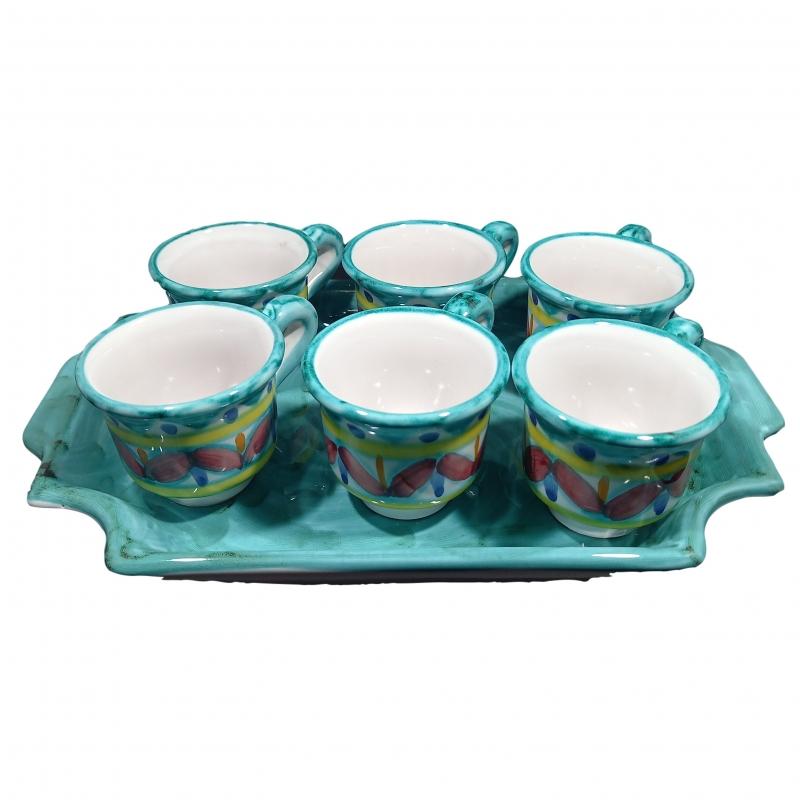 Set mit 6 Kaffeetassen mit einfarbigem Tablett in Ramingrün aus Vietri-Keramik.