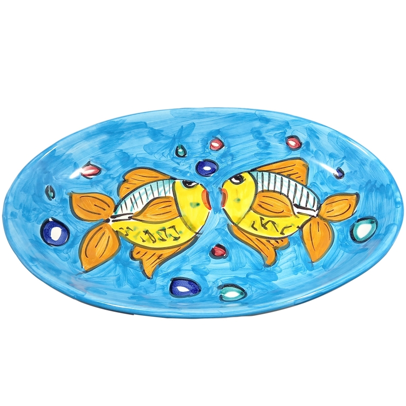 """placa ovalada """"fondo marino celeste"""" en cerámica de Vietri."""
