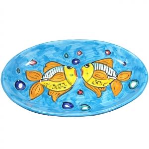"ovaler Teller ""Himmlischer Meeresboden"" aus Vietri-Keramik."