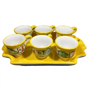 Service 6 Naif coffee cups with yellow one-color tray in Vietri ceramic.