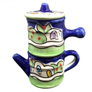 """Café moka napolitano """"naif azul"""" en cerámica de Vietri."""