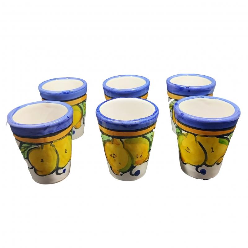 """juego de 6 vasos de limoncello """"Costiera blu"""" en cerámica de Vietri."""