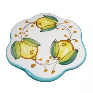 """passe-partout """"citron avec bord de rami vert"""" en céramique Vietri."""